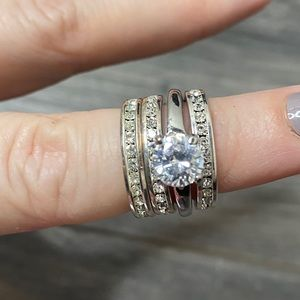 Wedding ring style silver and crystal rings